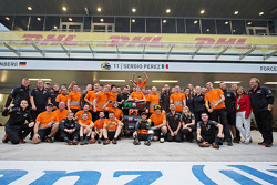 The Sahara Force India F1 Team celebrate third position for Sergio Perez, Sahara Force India F1
