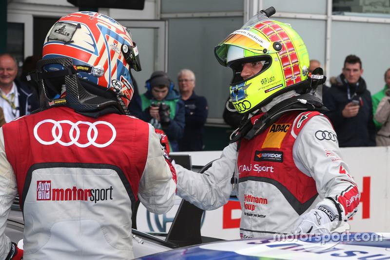 Race winner Timo Scheider, Audi Sport Team Phoenix Audi RS 5 DTM, second place Jamie Green, Audi Sport Team Rosberg Audi RS 5 DTM
