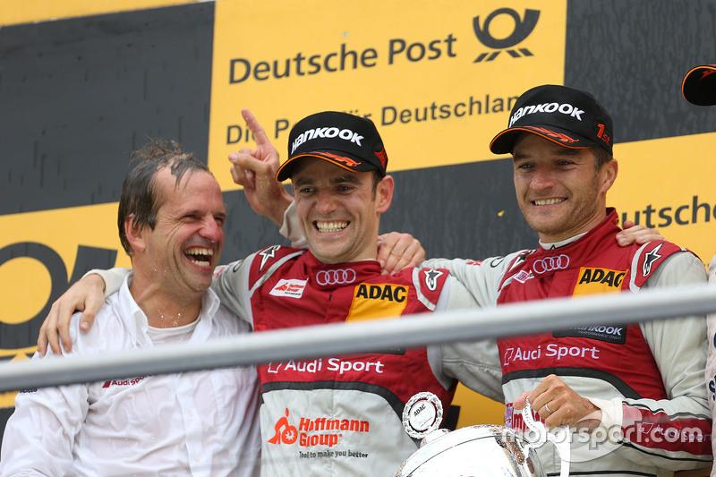 Podium: race winner Timo Scheider, Audi Sport Team Phoenix Audi RS 5 DTM, second place Jamie Green,