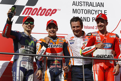Podium: winnaar Marc Marquez, Repsol Honda Team, 2de Jorge Lorenzo, Yamaha Factory Racing, 3de Andre