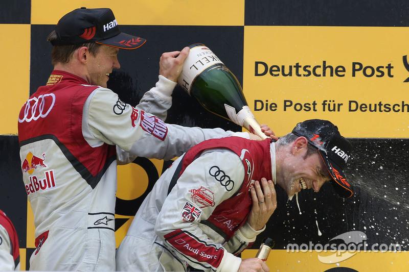 Podium: race winner Jamie Green, Audi Sport Team Rosberg Audi RS 5 DTM, second place Mattias Ekström