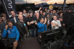 Andreas Mikkelsen, Sébastien Ogier, Jari-Matti Latvala, Volkswagen Motorsport, am WRC-Simulator