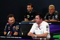 The FIA Press Conference: Matthew Carter, Lotus F1 Team CEO; Dr. Vijay Mallya, Sahara Force India F1 Team Owner; Franz Tost, Scuderia Toro Rosso Team Principal; Christian Horner, Red Bull Racing Team Principal; Eric Boullier, McLaren Racing Director