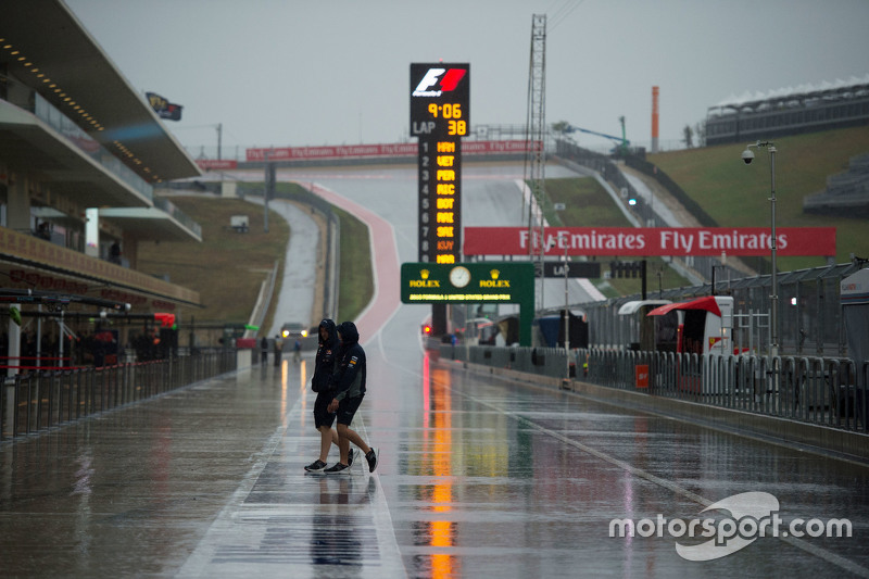 A wet and rainy pit lane