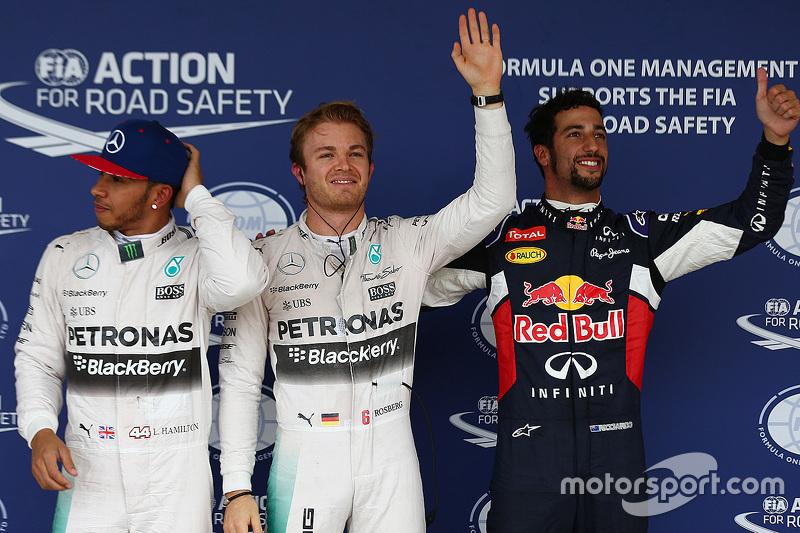 Qualifying: polesitter Nico Rosberg, Mercedes AMG F1, second place Lewis Hamilton, Mercedes AMG F1, third place Daniel Ricciardo, Red Bull Racing