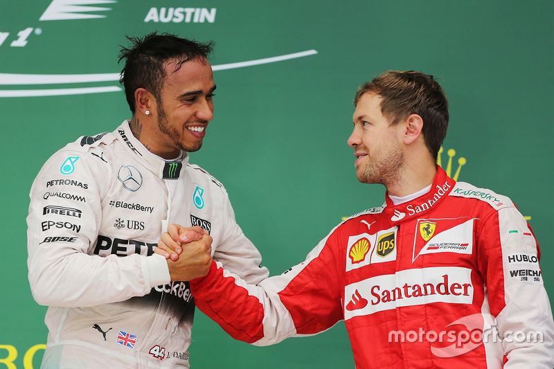 Podium: Race winner and World Champion Lewis Hamilton, Mercedes AMG F1 Team and third place Sebastian Vettel, Scuderia Ferrari