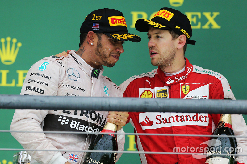 Podium: Race winner and World Champion Lewis Hamilton, Mercedes AMG F1, and third place Sebastian Ve