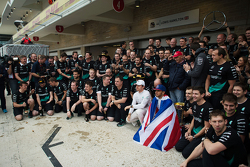Race winner and World Champion Lewis Hamilton, Mercedes AMG F1 celebrates with second place Nico Ros
