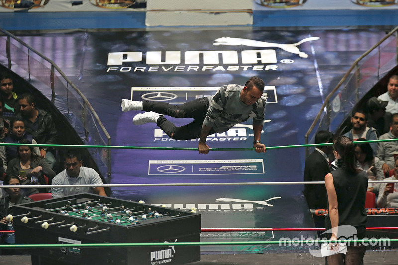 Lewis Hamilton participates in a Mexican Wrestling event in Mexico City