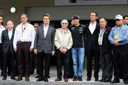 Jean Todt, Presidente de la FIA; Enrique Peña Nieto, Presidente de México; Bernie Ecclestone, Sahara