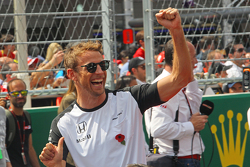 Jenson Button, McLaren on the drivers parade.