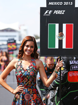 Grid girl for Sergio Perez, Sahara Force India F1
