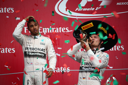 Podium: Second place Lewis Hamilton, Mercedes AMG F1 with race winner Nico Rosberg, Mercedes AMG F1 W06
