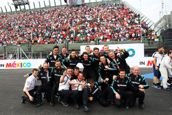 Mercedes AMG F1 celebrate at the podium