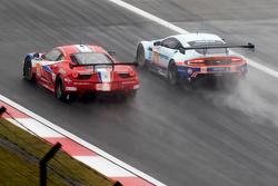AF Corse车队83号法拉利458 GTE赛车:伊曼纽尔·克拉德、鲁伊·阿瓜斯、弗朗索瓦·佩罗多和阿斯顿马丁车队96号阿斯顿马丁Vantage GTE赛车:弗朗西斯科·卡斯特拉齐、罗尔德·古特、斯图尔特·霍尔