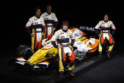 Fernando Alonso, Renault F1 Team, Nelson A. Piquet, Renault F1 Team, Lucas Di Grassi, Test Driver, Renault F1 Team, Romain Grosjean Test Driver, Renault F1 Team