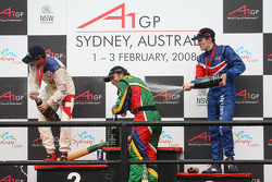 Winner, 1st, Adrian Zaugg, driver of A1 Team South Africa, 2nd, Neel Jani, driver of A1 Team Switzerland and 3rd, Robbie Kerr, driver of A1 Team Great Britain