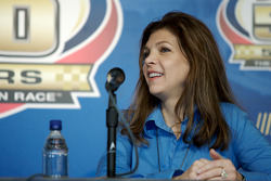Unveiling of the commemorative car to celebrate the 10th anniversary of Dale Earnhardt's Daytona 500 win: Teresa Earnhardt