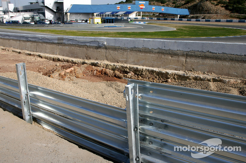 Work is carried out to enlarge the gravel trap at the last corner