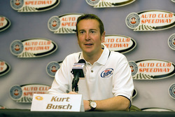 Kurt Busch speaks to the media