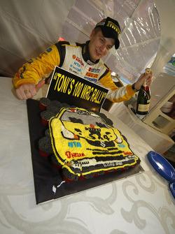 Toni Gardemeister celebrates his 100th WRC