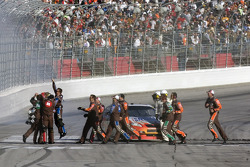 Race winner Kyle Busch celebrates with his team