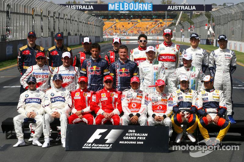 Familiefoto: de klas van 2008 in de Formule 1
