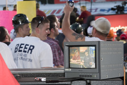 Fans have fun by cheering and shouting during the appearances of Jeff Gordon, Clint Boyer, and Jamie McMurray at Trackside Live presented by The Speed Chanel