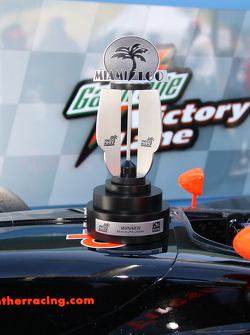 The Miami 100 race winner trophy