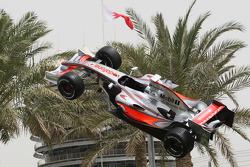 A McLaren Mercedes F1 Show car suspeneded in mid-air
