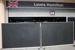 Lewis Hamilton, McLaren Mercedes, shut garage doors