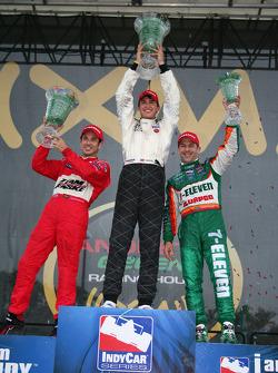 Winner Graham Rahal with Helio Castroneves and Tony Kanaan