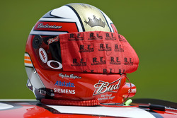 The helmet of Kasey Kahne sits atop his race car