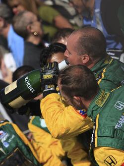Champagne for Team Australia crew members