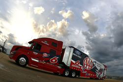 David Ragan's AAA hauler makes it's entrance onto the grounds at Talladega Superspeedway