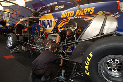 Pre-race work in Ron Capps' pit area