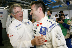 Pole winner Nicolas Minassian celebrates with Michel Barge