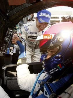 Race winners Pedro Lamy and Stéphane Sarrazin celebrate