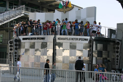 Students enjoy the view from Victory Circle Podium at Indianapolis Motor Speedway