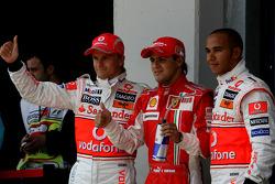 Pole winner Felipe Massa, Scuderia Ferrari, 2nd, Heikki Kovalainen, McLaren Mercedes and 3rd, Lewis Hamilton, McLaren Mercedes