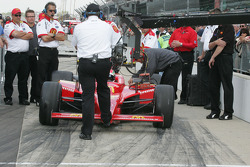Brian Barnhart holds Justin Wilson until his time to qualify