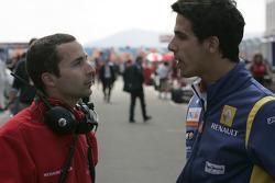 Nicolas Todt, ART Grand Prix Team Principal talks to Lucas Di Grassi, Renault F1 on the grid