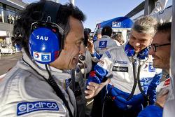 Jacques Villeneuve and Serge Saulnier celebrate win