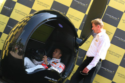 Lewis Hamilton, McLaren Mercedes and Mika Hakkinen unveil in Monte Carlo the latest campaign in the Johnnie Walker Responsible Drinking programme