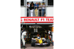 Fernando Alonso, Renault F1 Team, R28 leaves the garage, below Elisabetta Gregoraci, Wife of Flavio Briatore