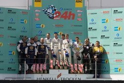 Podium: race winners #1 Manthey Racing Porsche 911 GT3 RSR: Timo Bernhard, Marc Lieb, Romain Dumas, Marcel Tiemann, second place #23 Manthey Racing Porsche 911 GT3-MR: Armin Hahne, Christian Haarmann, Jochen Krumbach, Pierre Kaffer, third place #121 Porsc