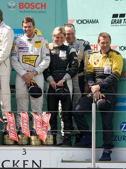 Podium: third place #121 Porsche 997: Sabine Schmitz, Klaus Abbelen, Edgar Althoff