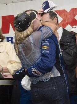 Victory lane: race winner Kurt Busch celebrates with wife Eva