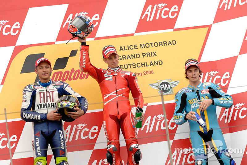 Podio: 1º Casey Stoner, 2º Valentino Rossi 3º Chris Vermeulen