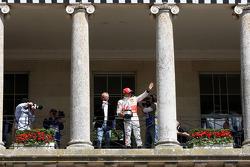 Lewis Hamilton, McLaren Mercedes on the Balcony of Goodwood house with Chris Evans TV and radio presenter